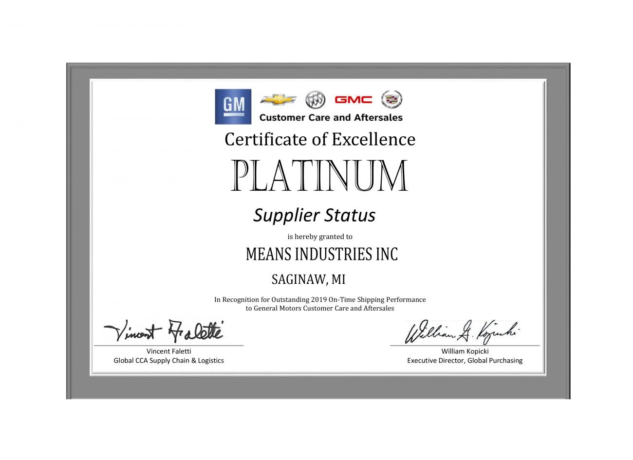 Means Industries Certificate of Excellence