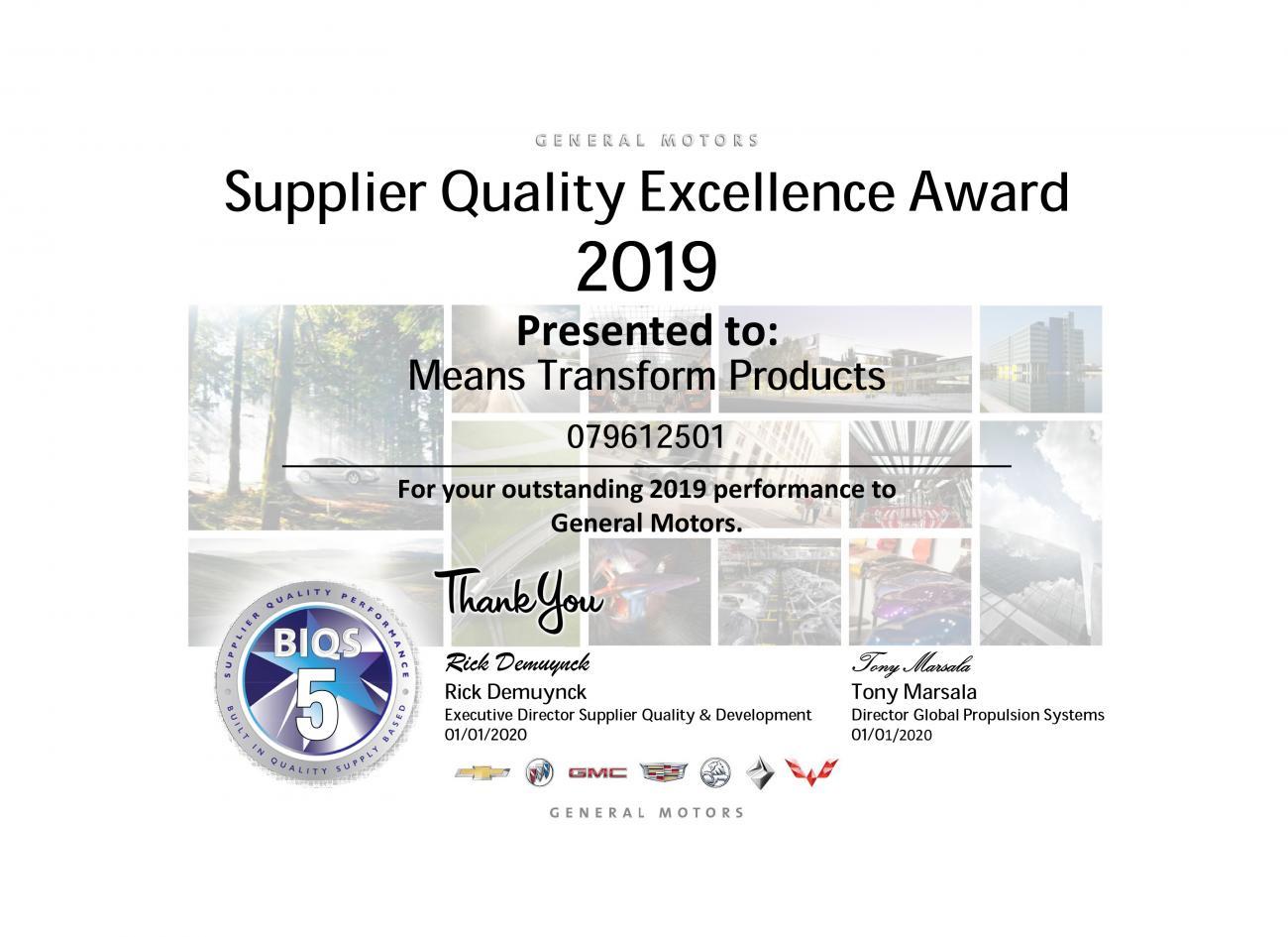 GM supplier quality award